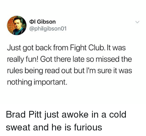 Brad Pitt, Club, and Fight Club: Dl Gibson  @philgibson01  Just got back from Fight Club. It was  really fun! Got there late so missed the  rules being read out but l'm sure it was  nothing important. Brad Pitt just awoke in a cold sweat and he is furious