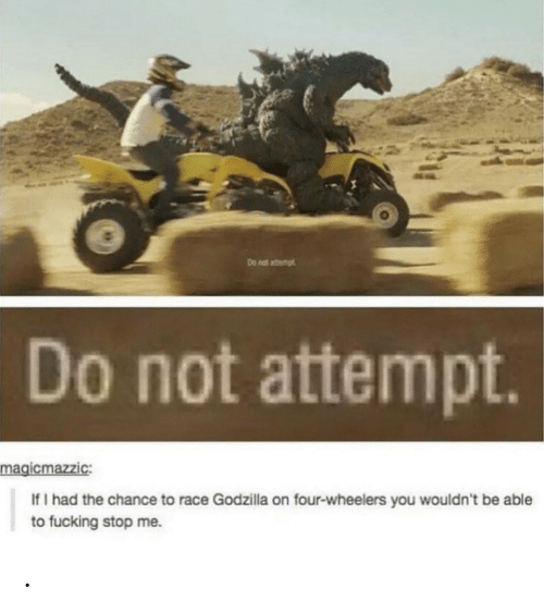 Godzilla: Do nat atemt  Do not attempt.  magicmazzic:  If I had the chance to race Godzilla on four-wheelers you wouldn't be able  to fucking stop me. .