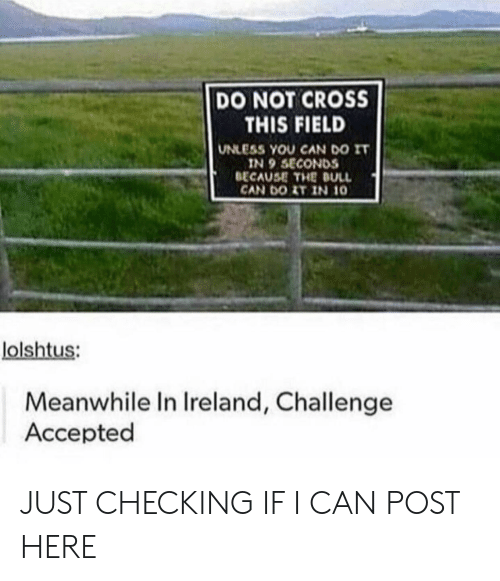 Cross, Ireland, and Accepted: DO NOT CROSS  THIS FIELD  UNLESS YOU CAN DO IT  IN 9 SECONDS  BECAUSE THE DULL  CAN DOIT IN 10  lolshtus:  Meanwhile In Ireland, Challenge  Accepted JUST CHECKING IF I CAN POST HERE