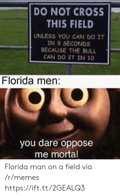 bull: DO NOT CROSS  THIS FIELD  UNLESS YOU CAN DO IT  IN 9 SECONDS  BECAUSE THE BULL  CAN DO XT IN 10  Florida men:  you dare oppose  me mortal Florida man on a field via /r/memes https://ift.tt/2GEALQ3