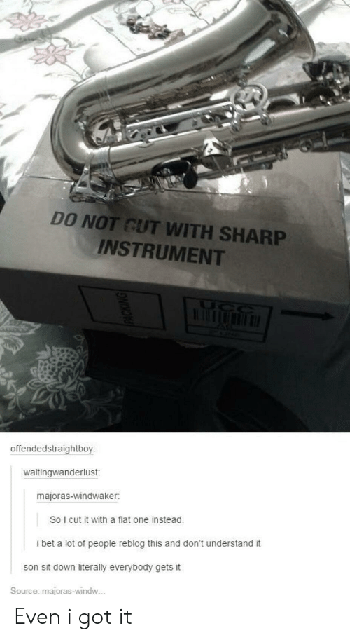 I Bet, I Got It, and Got: DO NOT CUT WITH SHARP  INSTRUMENT  offendedstraightboy:  waitingwanderlust  majoras-windwaker:  So I cut it with a flat one instead.  i bet a lot of people reblog this and don't understand it  son sit down literally everybody gets it  Source: majoras-windw.. Even i got it