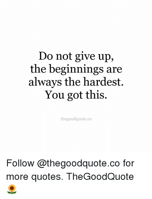 Memes, Quotes, and 🤖: Do not give up,  the beginnings are  always the hardest.  You got this.  thegoodquote.co Follow @thegoodquote.co for more quotes. TheGoodQuote 🌻
