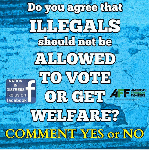 distress: Do vou acree that  ILLEGALS  should not be  ALLOWED  TO VOTE  NATION  IN  DISTRESS  like us on  facebook  AMERICAS  FIGHTERS  WELFARE?