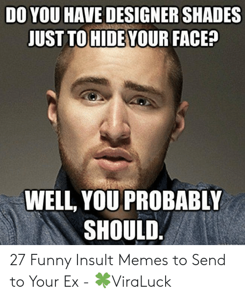 Funny, Memes, and Face: DO YOU HAVE DESIGNER SHADES  UST TOHIDE YOUR FACE?  WELL, YOU PROBABLY  SHOULD 27 Funny Insult Memes to Send to Your Ex - 🍀ViraLuck