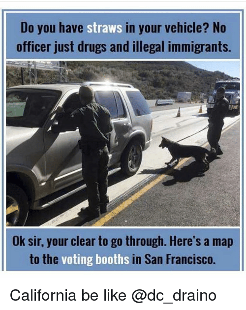 Illegal Immigrants: Do you have straws in your vehicle? No  officer just drugs and illegal immigrants.  Ok sir, your clear to go through. Here's a map  to the  voting booths  in San Francisco. California be like @dc_draino