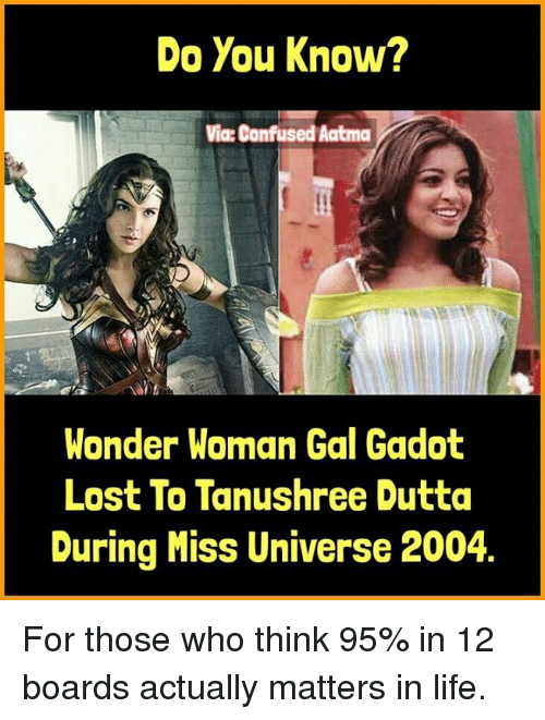 Miss Universe: Do You Know?  Via: Confused Aatma  Wonder Woman Gal Gadot  Lost To Tanushree Dutta  During Miss Universe 2004 For those who think 95% in 12 boards actually matters in life.