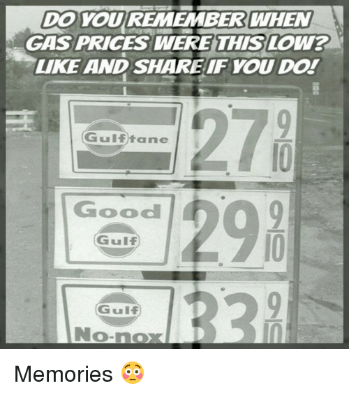 Memes, Gas Prices, and Good: DO YOU REMEMBER WHEN  GAS PRICES WERE THIS LOW?  LIKE AND SHAREIFYOU Do!  278  12%  Gulftane  Good  Gulf  Gulf  No-nox  0 Memories 😳