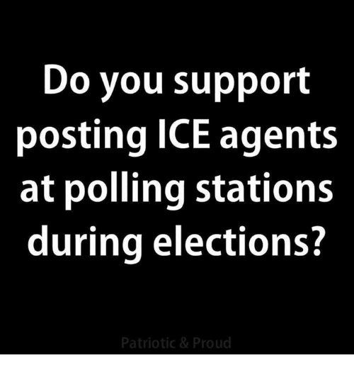 Memes, Proud, and 🤖: Do you support  posting ICE agents  at polling stations  during elections?  Patriotic & Proud