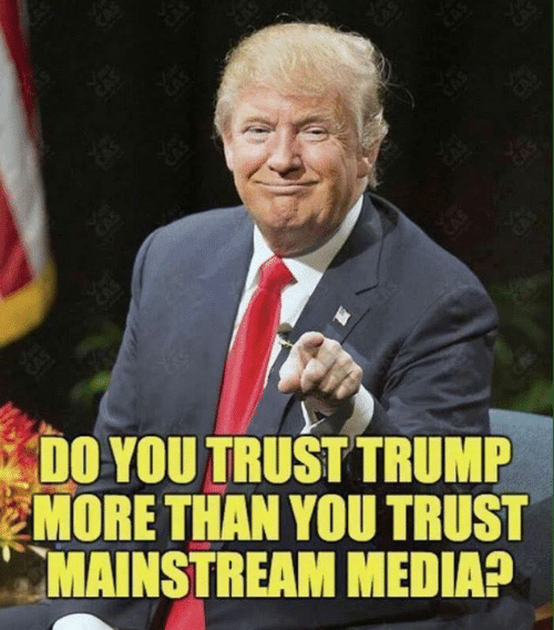 Memes, Trump, and 🤖: DO YOU TRUST TRUMP  MORE THAN YOU TRUST  MAINSTREAM MEDIA