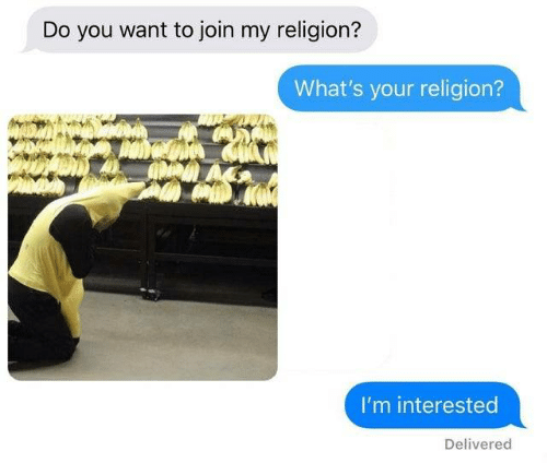 Religion, You, and Whats: Do you want to join my religion?  What's your religion?  I'm interested  Delivered
