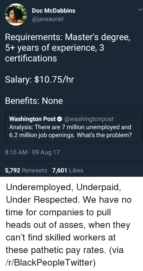 Blackpeopletwitter, Masters, and Time: Doc McDabbins  @javeauriel  Requirements: Master's degree,  5+ years of experience, 3  certifications  Salary: $10.75/hr  Benefits: None  Washington Post * @washingtonpost  Analysis: There are 7 million unemployed and  6.2 million job openings. What's the problem?  8:16 AM.09 Aug 17  5,792 Retweets 7,601 Likes <p>Underemployed, Underpaid, Under Respected. We have no time for companies to pull heads out of asses, when they can't find skilled workers at these pathetic pay rates. (via /r/BlackPeopleTwitter)</p>