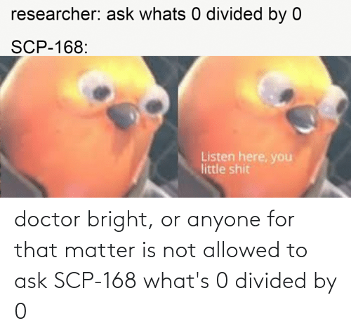 Divided: doctor bright, or anyone for that matter is not allowed to ask SCP-168 what's 0 divided by 0