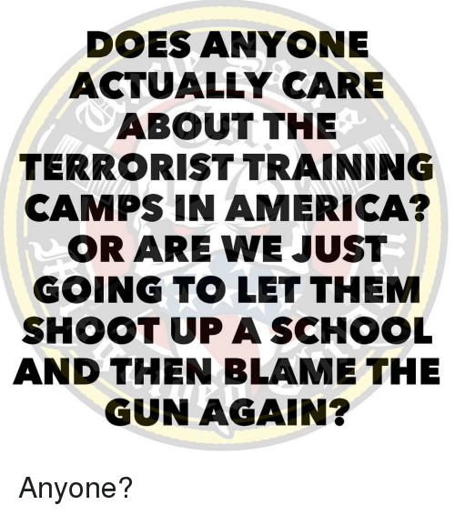 America, Memes, and 🤖: DOES ANYONE  ACTUALLY CARE  ABOUT THE  TERRORIST TRAINING  CAMPS IN AMERICA?  OR ARE WE JUST  GOING T。LET THEM  SHOOT UP ASCHOOL  AND THEN BLAME THE  GUN AGAIN? Anyone?