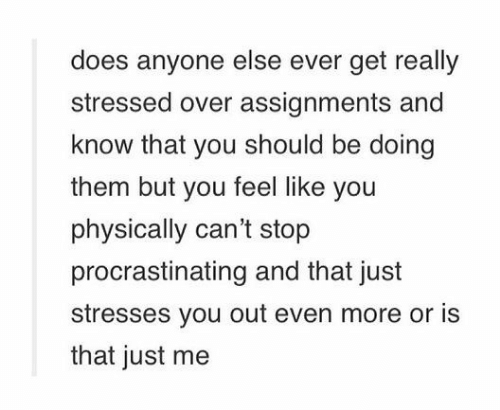 Them, You, and More: does anyone else ever get really  stressed over assignments and  know that you should be doing  them but you feel like you  physically can't stop  procrastinating and that just  stresses you out even more or is  that just me