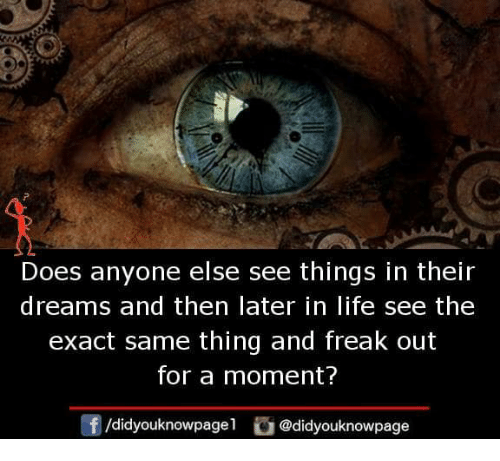 Life, Memes, and Dreams: Does anyone else see things in their  dreams and then later in life see the  exact same thing and freak out  for a moment?  f/didyouknowpagel@didyouknowpage