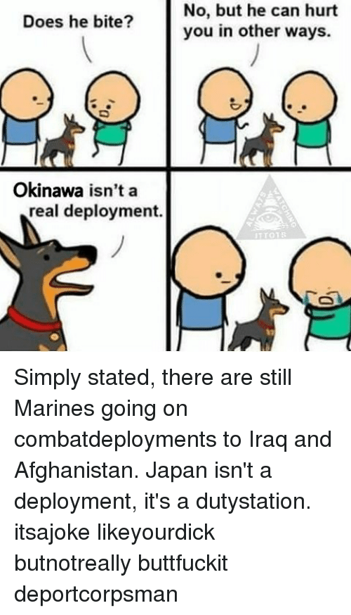 Memes, Afghanistan, and Iraq: Does he bite?  Okinawa isn't a  real deployment.  No, but he can hurt  you in other ways.  01 S Simply stated, there are still Marines going on combatdeployments to Iraq and Afghanistan. Japan isn't a deployment, it's a dutystation. itsajoke likeyourdick butnotreally buttfuckit deportcorpsman