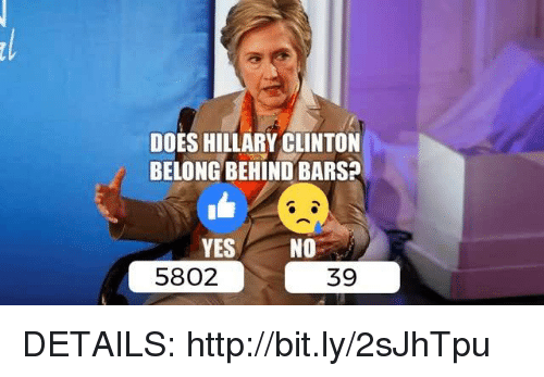 Hillary Clinton, Http, and Yes: DOES HILLARY CLINTON  BELONG BEHIND BARS?  YES  NO  5802  39 DETAILS: http://bit.ly/2sJhTpu
