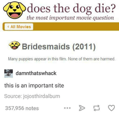Dank, Doe, and Dogs: does the dog die?  the most important movie question  All Movies  Bridesmaids (2011)  Many puppies appear in this film. None of them are harmed  damnthatswhack  this is an important site  Source: jojosthirdalbum  357,956 notes