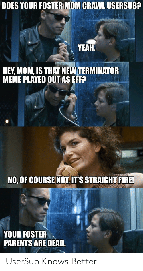 Usersub: DOES YOUR FOSTER MOM CRAWL USERSUB?  YEAH  HEY, MOM, IS THAT NEW TERMINATOR  MEME PLAYED OUT AS EFF?  NO, OF COURSE NOT, IT'S STRAIGHT FIRE!  YOUR FOSTER  PARENTS ARE DEAD. UserSub Knows Better.