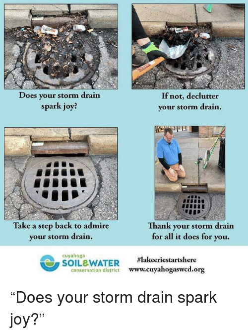 """Water, Back, and Joy: Does your storm drain  spark joy?  If not, declutter  your storm drain  Take a step back to admire  your storm drain  Th  ank your storm drain  for all it does for you.  cuyahoga  SOIL&WATER  #lakeeriestartshere  conservation district www.cuyaho  gaswcd.org """"Does your storm drain spark joy?"""""""