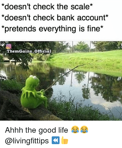 "Scaling: *doesn't check the scale*  *doesn't check bank account*  pretends everytning is fine""  ThemGainz Official Ahhh the good life 😂😂 @livingfittips ⏪👍"