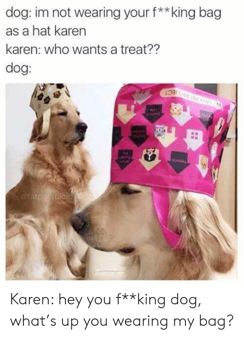 Dog, King, and Who: dog: im not wearing your f**king bag  as a hat karen  karen: who wants a treat??  dog:  afatp Sulcid Karen: hey you f**king dog, what's up you wearing my bag?
