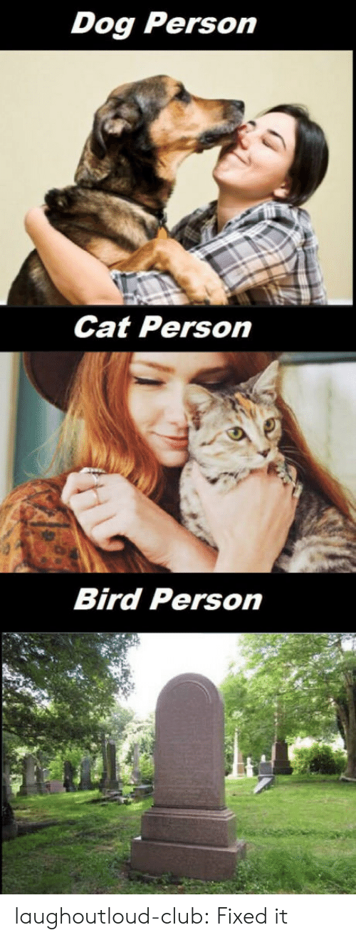 Club, Tumblr, and Blog: Dog Person  Cat Person  Bird Person laughoutloud-club:  Fixed it