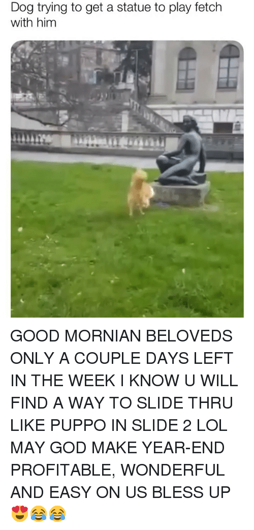Bless Up, God, and Lol: Dog trying to get a statue to play fetch  with him GOOD MORNIAN BELOVEDS ONLY A COUPLE DAYS LEFT IN THE WEEK I KNOW U WILL FIND A WAY TO SLIDE THRU LIKE PUPPO IN SLIDE 2 LOL MAY GOD MAKE YEAR-END PROFITABLE, WONDERFUL AND EASY ON US BLESS UP 😍😂😂