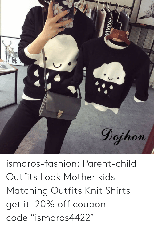 """Fashion, Tumblr, and Blog: Dojhon ismaros-fashion: Parent-child Outfits Look  Mother  kids Matching Outfits Knit Shirts get it 20% off coupon code""""ismaros4422″"""
