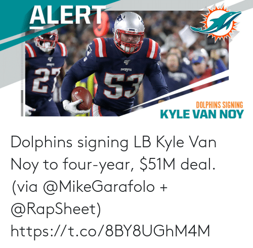 Four: Dolphins signing LB Kyle Van Noy to four-year, $51M deal. (via @MikeGarafolo + @RapSheet) https://t.co/8BY8UGhM4M