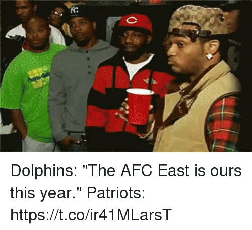 """Memes, Patriotic, and Dolphins: Dolphins: """"The AFC East is ours this year.""""  Patriots: https://t.co/ir41MLarsT"""