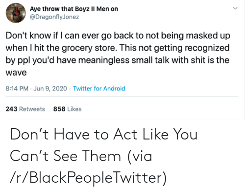 Like You: Don't Have to Act Like You Can't See Them (via /r/BlackPeopleTwitter)