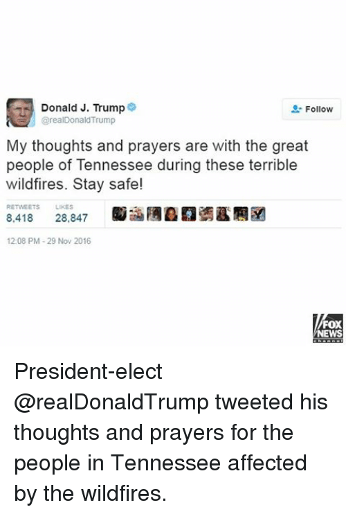 Memes, Affect, and Fox News: Donald J. Trump  2: Follow  @realDonald Trump  My thoughts and prayers are with the great  people of Tennessee during these terrible  wildfires. Stay safe!  RETwEETs LIKES  8.418  28.847  12:08 PM-29 Nov 2016  FOX  NEWS President-elect @realDonaldTrump tweeted his thoughts and prayers for the people in Tennessee affected by the wildfires.