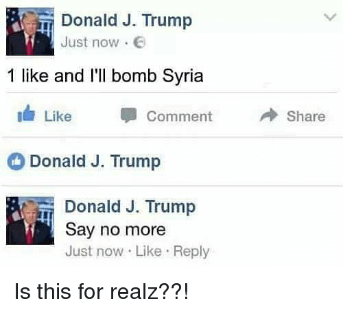 Syria, Trump, and Say No More: Donald J. Trump  Just now .  1 like and I'l bomb Syria  11/ Like  Comment  → Share  Donald J. Trump  Donald J. Trump  Say no more  Just now Like Reply Is this for realz??!