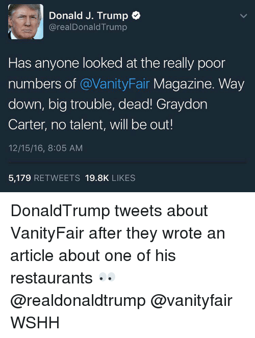 Memes, Wshh, and Restaurant: Donald J. Trump  realDonald Trump  Has anyone looked at the really poor  numbers of  @Vanity Fair  Magazine. Way  down, big trouble, dead! Graydon  Carter, no talent, will be out!  12/15/16, 8:05 AM  5,179  RETWEETS 19.8K  LIKES DonaldTrump tweets about VanityFair after they wrote an article about one of his restaurants 👀 @realdonaldtrump @vanityfair WSHH