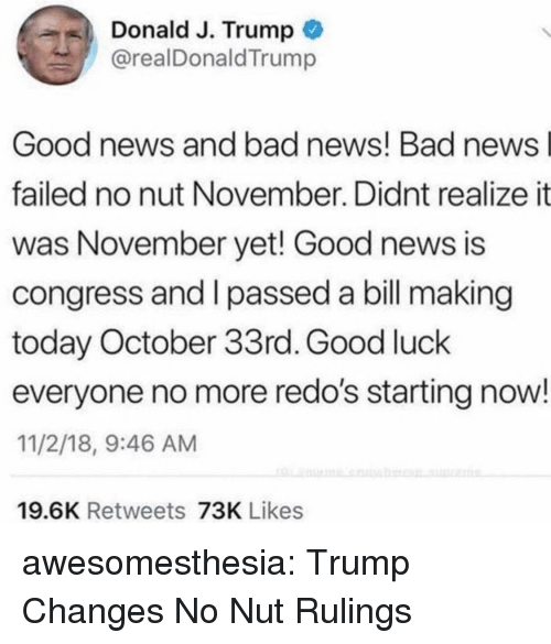 Bad, News, and Tumblr: Donald J. Trump  @realDonaldTrump  Good news and bad news! Bad news  failed no nut November. Didnt realize it  was November yet! Good news is  congress and I passed a bill making  today October 33rd. Good luck  everyone no more redo's starting now!  11/2/18, 9:46 AM  19.6K Retweets 73K Likes awesomesthesia:  Trump Changes No Nut Rulings