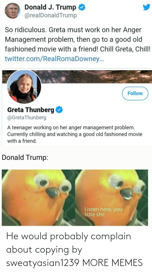 ridiculous: Donald J. Trump  @realDonaldTrump  So ridiculous. Greta must work on her Anger  Management problem, then go to a good old  fashioned movie with a friend! Chill Greta, Chill!  twitter.com/RealRomaDowney..  Follow  Greta Thunberg  @GretaThunberg  A teenager working on her anger management problem.  Currently chilling and watching a good old fashioned movie  with a friend.  Donald Trump:  Listen here, you  little shit He would probably complain about copying by sweatyasian1239 MORE MEMES