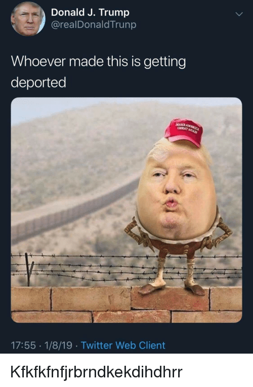 Twitter, Trump, and Web: Donald J. Trump  @realDonaldTrunp  Whoever made this is getting  deported  17:55 1/8/19 Twitter Web Client Kfkfkfnfjrbrndkekdihdhrr