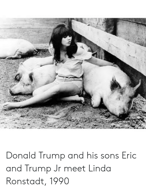 Donald Trump, Trump, and Linda Ronstadt: Donald Trump and his sons Eric and Trump Jr meet Linda Ronstadt, 1990