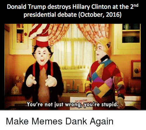 Presidential Debate: Donald Trump destroys Hillary Clinton at the 2nd  presidential debate (October, 2016)  HE AMATTING  You're not just wrong,you're stupid. <p>Make Memes Dank Again</p>