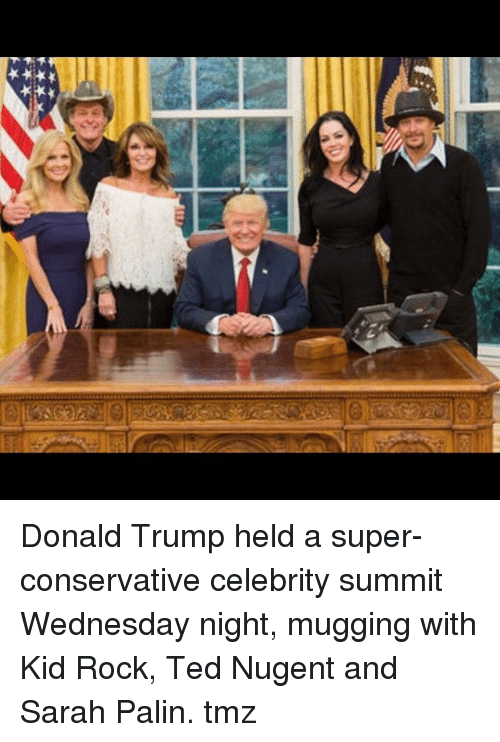 Wednesday Night: Donald Trump held a super-conservative celebrity summit Wednesday night, mugging with Kid Rock, Ted Nugent and Sarah Palin. tmz