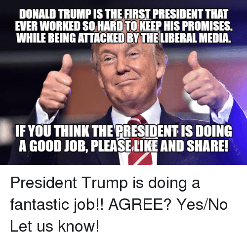 Donald Trump, Good, and Trump: DONALD TRUMP IS THE FIRST PRESIDENT THAT  EVER WORKED SO HARD TOKEEP HIS PROMISES.  WHILE BEING ATTACKED BY THE LIBERAL MEDIA.  IF YOU THINK THE PRESIDENT IS DOING  A GOOD JOB, PLEASELIKE AND SHARE! President Trump is doing a fantastic job!! AGREE? Yes/No Let us know!