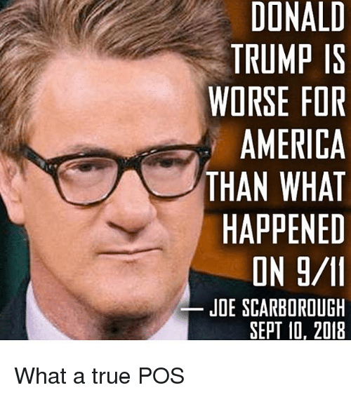 America, Donald Trump, and Memes: DONALD  TRUMP IS  WORSE FOR  AMERICA  THAN WHAT  HAPPENED  JDE SCARBOROUGH  SEPT 10, 2018 What a true POS