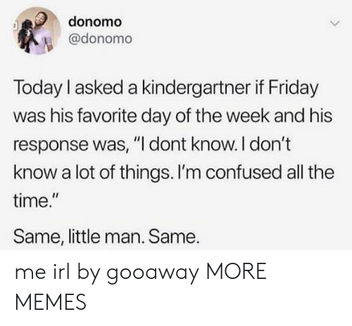 "little man: donomo  @donomo  Today I asked a kindergartner if Friday  was his favorite day of the week and his  response was, ""I dont know. I don't  know a lot of things. I'm confused all the  time.""  Same, little man. Same. me irl by gooaway MORE MEMES"