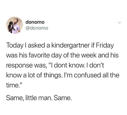 "little man: donomo  @donomo  Today l asked a kindergartner if Friday  was his favorite day of the week and his  response was, ""I dont know.I don't  know a lot of things. I'm confused all the  time.""  Same, little man. Same."