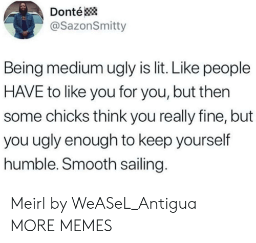 donte: Donté  @SazonSmitty  Being medium ugly is lit. Like people  HAVE to like you for you, but then  some chicks think you really fine, but  you ugly enough to keep yourself  humble. Smooth sailing. Meirl by WeASeL_Antigua MORE MEMES