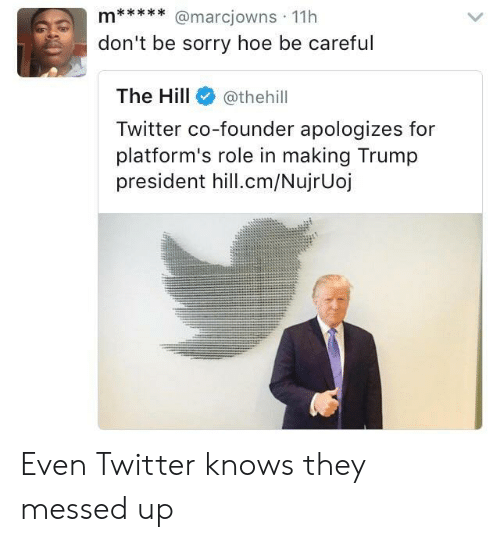 Hoe, Sorry, and Twitter: don't be sorry hoe be careful  The Hill@thehill  Twitter co-founder apologizes for  platform's role in making Trump  president hill.cm/NujrUoj Even Twitter knows they messed up