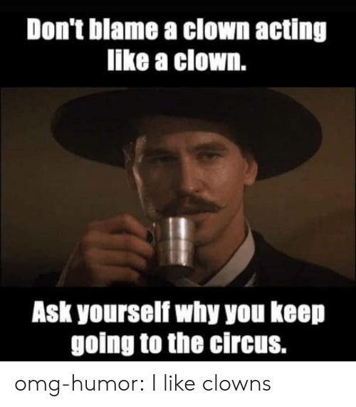 Clowns: Don't blame a clown acting  like a clown.  Ask yourself why you keep  going to the circus. omg-humor:  I like clowns