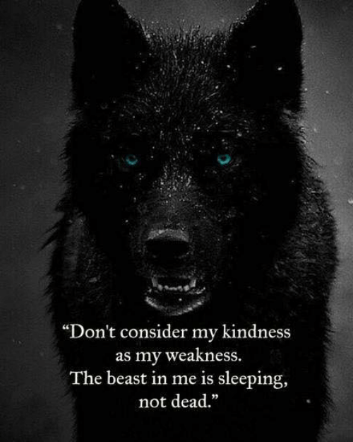 """Sleeping, Kindness, and Beast: """"Don't consider my kindness  as my weakness  The beast in me is sleeping,  not dead."""""""