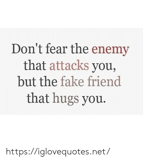 enemy: Don't fear the enemy  that attacks you,  but the fake friend  that hugs you. https://iglovequotes.net/